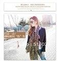 Envío gratis tamaño grande 160 X 70 CM seda de la gasa moda Leopard mujeres bufandas otoño e invierno bufanda de la señora wraps