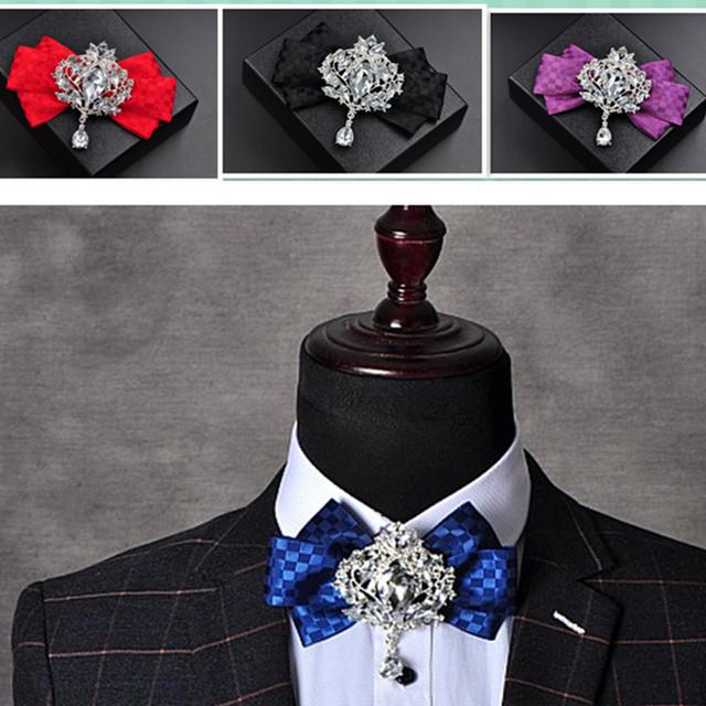 Británico Vestido de Corbata Pajarita Hombres y Mujeres Novio Flor Coreana Exclusivo Recibir Flores Masculinas Ocasionales Sólidos Corbatas Corbata