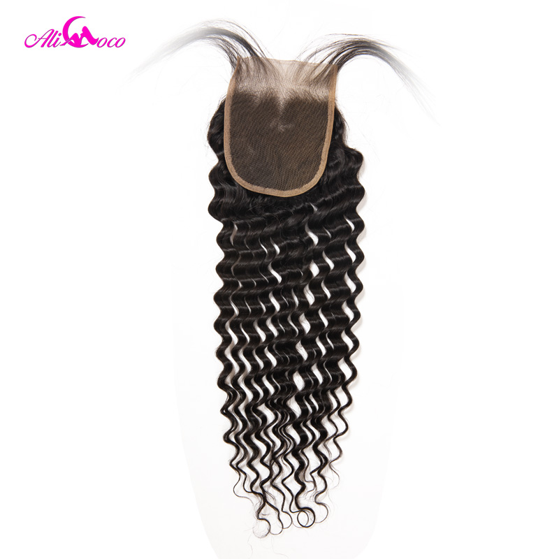 Ali Coco Hair Brazilian Deep Wave Lace Closure With Baby Hair 4x4 Free Part Human Hair Closure 100% Remy Hair Natural Color
