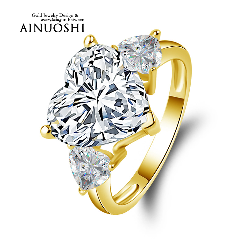 AINUOSHI 10k Solid Yellow Gold TC Collection Rings 5 ct Heart Shape CZ 3 Stones Young
