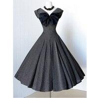 2016 Summer Audrey Hepburn Style 1950s 60s Vintage Bow Retro Sleeve Rockabilly 50s Swing Wedding Bridess