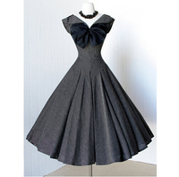 2016 Summer Audrey Hepburn Style 1950s 60s Vintage Bow Retro Sleeve Rockabilly 50s Swing Wedding Bridess