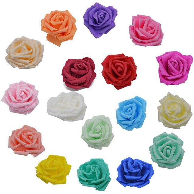 10 piezas 8 cm de espuma Rosa Artificial cabezas de Flores para boda decoración de Casa Mariage Flores Rosa Scrapbooking arte suministros