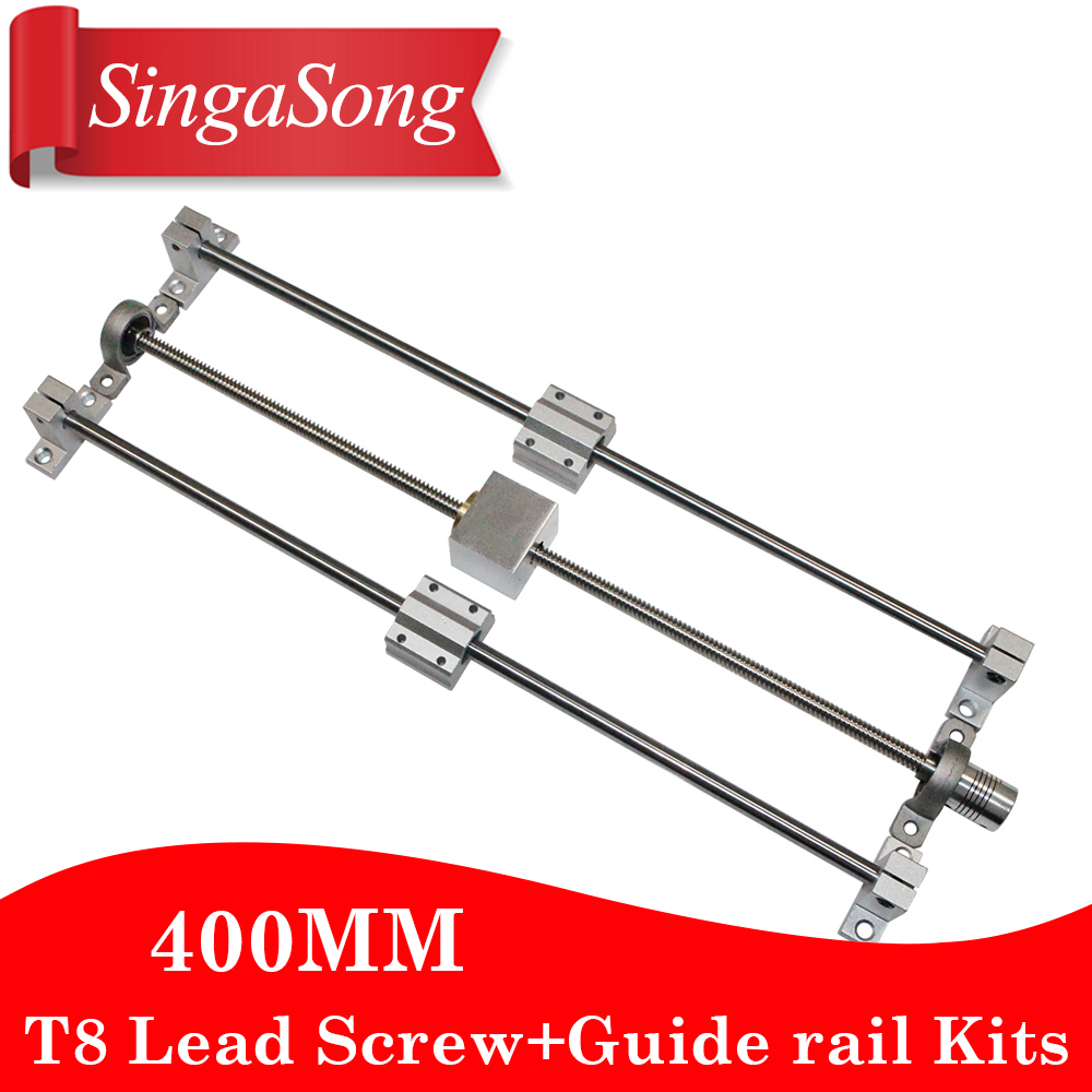 3D printer Guide rail parts -T8 Lead Screw 400mm + Optical axis 400mm+KP08 bearing bracket + screw nut housing mounting bracket roland sj 640 xj 640 l bearing rail block ssr15xw2ge 2560ly 21895161 printer parts