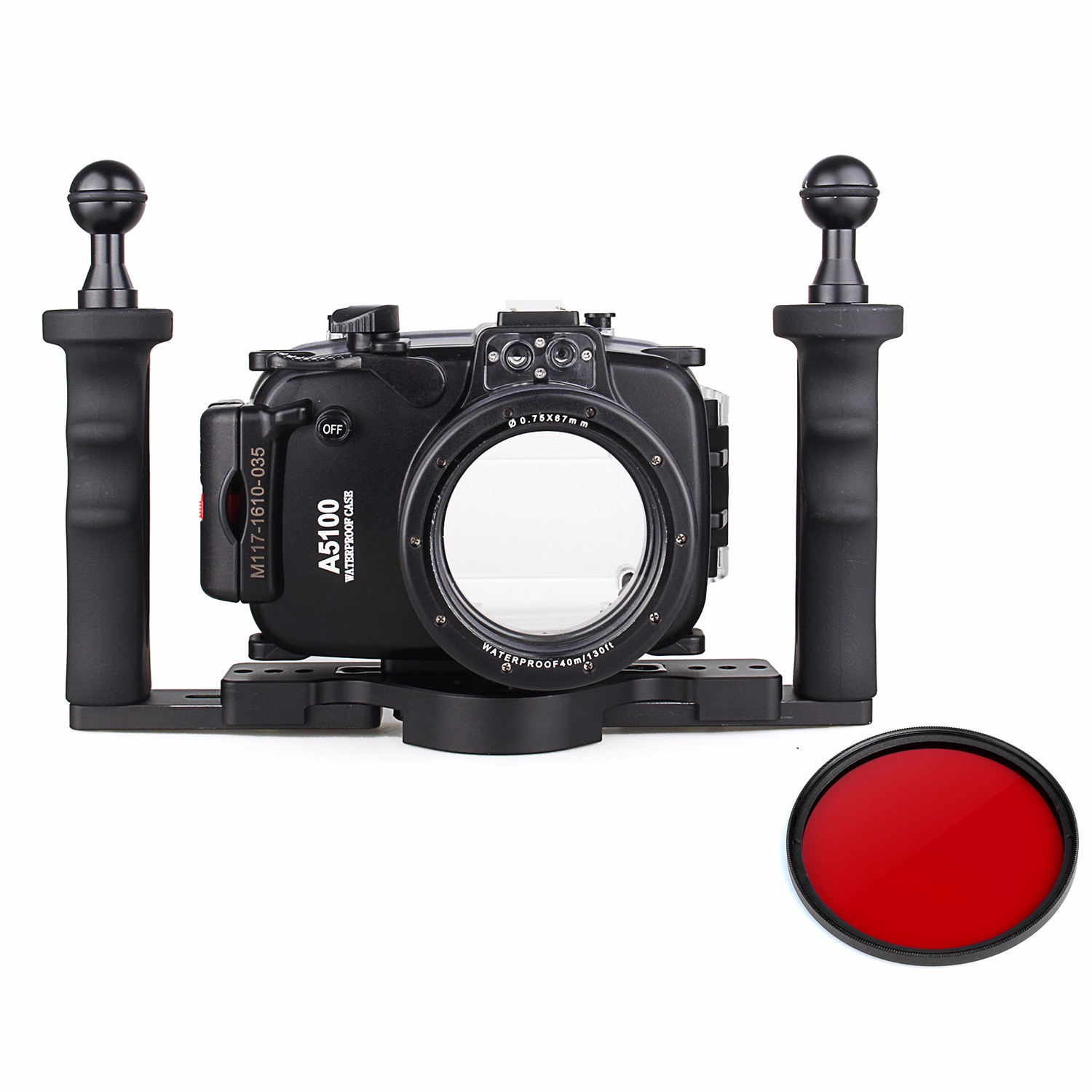 40m 130ft Waterproof Underwater Camera Housing Case Bag for Sony A5100 16-50mm Lens + Two Hands Aluminium Tray + 67mm Red Filter 40m 130ft waterproof underwater camera diving housing case aluminum handle for sony a7 a7r a7s 28 70mm lens camera