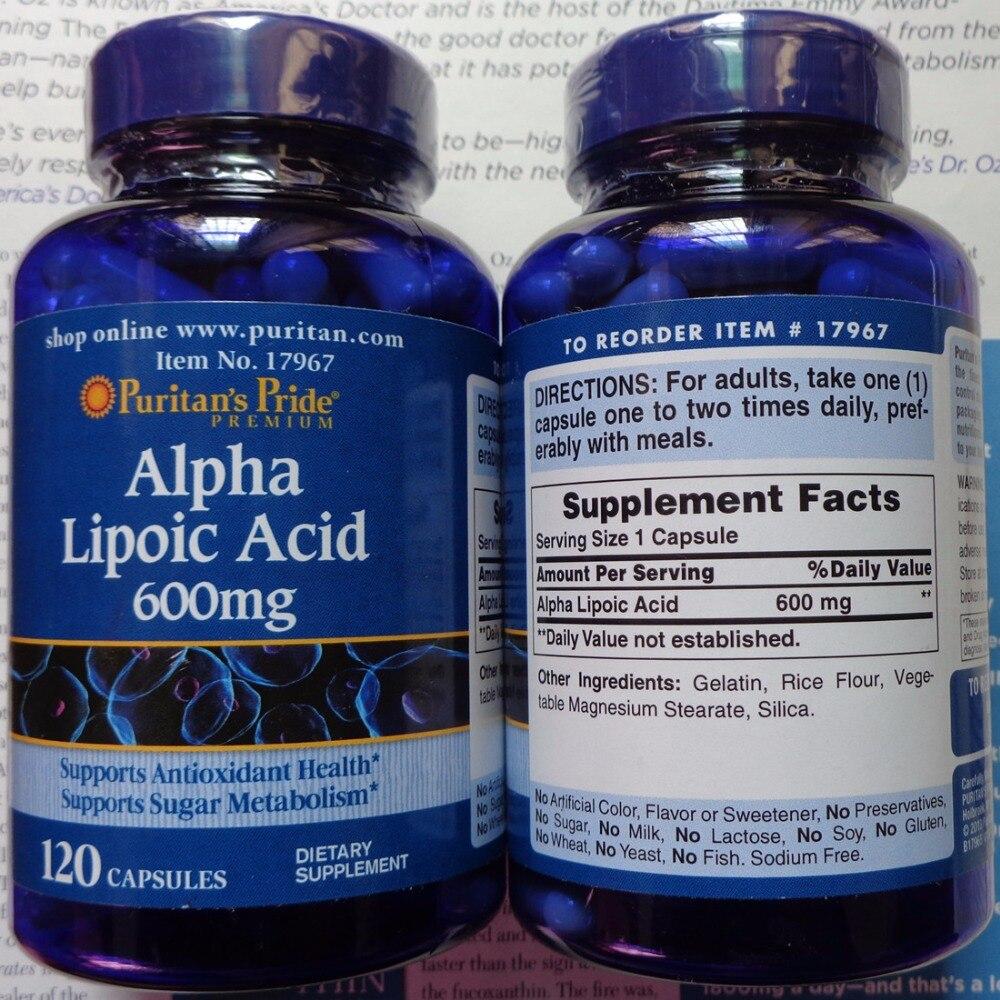 Free Shipping Alpha Lipoic Acid 600 mg 120 pcs usa trunature ginko biloba with vinpocetine 120 mg 300 softgels bottle free shipping