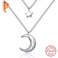 Authentic 100 925 Sterling Silver Mutilayer Star Moon I Love Y Pendant Necklace For Women Jewelry