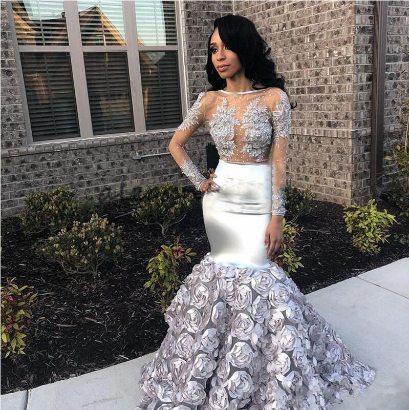 Silver African Mermaid Evening   Dress   2019 New Rose Flower Skirt Long Sleeves Elegant   Prom     Dresses   Abendkleider Robe de soiree
