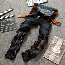 Fashion Style Men Moto Biker Jeans Straight Slim Fit Denim Pants Distressed Men's Jeans