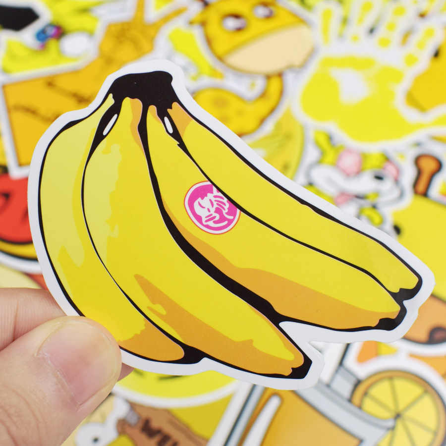 50 pcs yellow graffiti stickers funny anime cute creative decal sticker for children notebook bicycle luggage