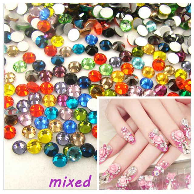 ss3 -ss30 Flat Back Best Crystal Mixed color ( 3d Nail Art decorations ) Non  Hot Fix Glue on rhinestones for nails diy 2d0ec692cff0