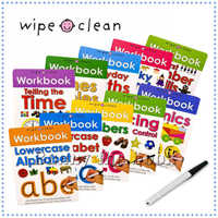 Educational Children English Numbers Time Phonics Maths Learning Wipe Clean Workbook 10pcs set + 1 pen Baby Funny Books