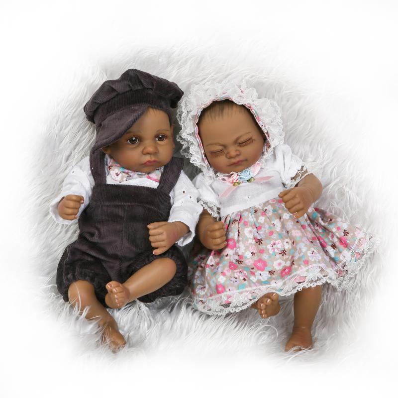 26cm Mini Black Twins Dolls Cute Baby Full Silicone Baby ...