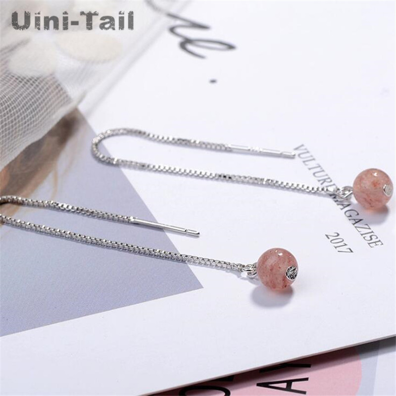 aa8aeda2b Uini Tail hot new 925 sterling silver girl heart natural strawberry crystal  earrings Korea sweet pink beads long earrings fresh-in Drop Earrings from  ...