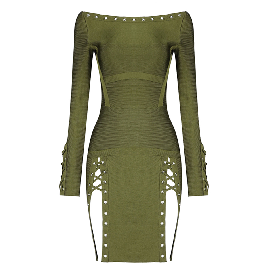 High Quality Women s Sexy Green Bandage Mini Dress 2019 Long Sleeve Stud Bodycon Dress Celebrity