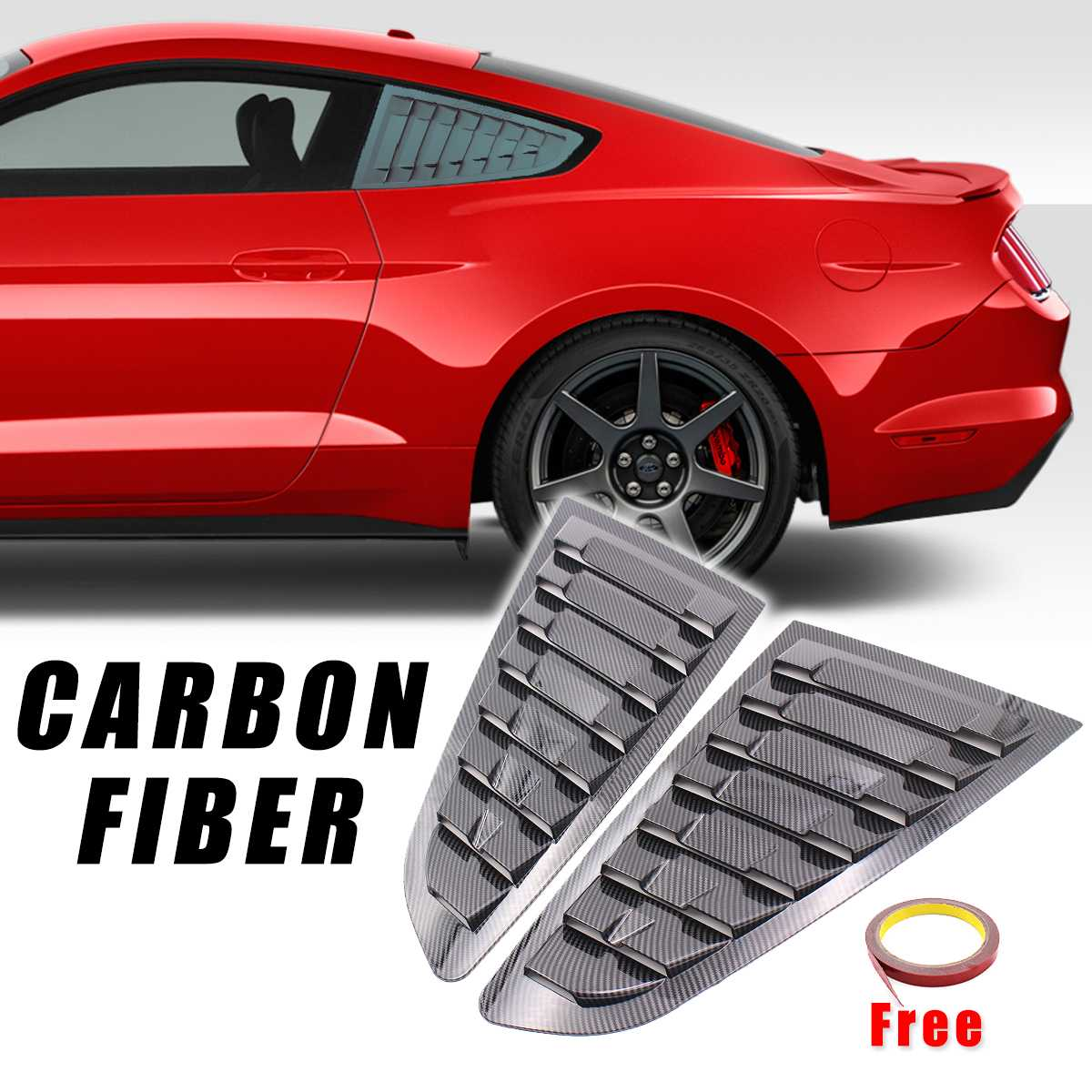 2Pcs Carbon Fiber Color Rear Quarter Panel Window Side Vent Louvers Shield Sticker For <font><b>Ford</b></font> For <font><b>Mustang</b></font> <font><b>2015</b></font> 2016 2017 2018 2019 image