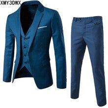 (Jacket+Pant+Vest) Luxury Men Wedding Suit Male Blazers Slim Fit Suits Men's Costume Business Formal Party Classic plus size 6XL