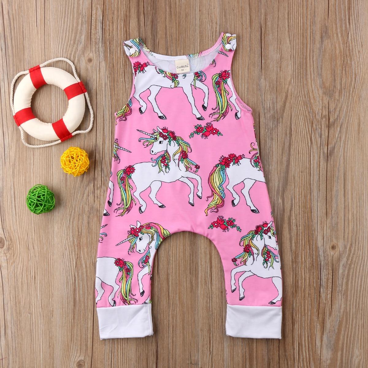2018 Focusnorm Sommer Newborn Kinder Baby Baumwolle Einhorn Floral Sleeveless Strampler Outfit Kleidung Chinesische Aromen Besitzen