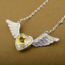 Fashion Jewelry Silver Color Luxury Colorful Full Crystal Wing Heart Pendant Maxi Choker Pendants Necklaces For Women (DJ0658)(China)