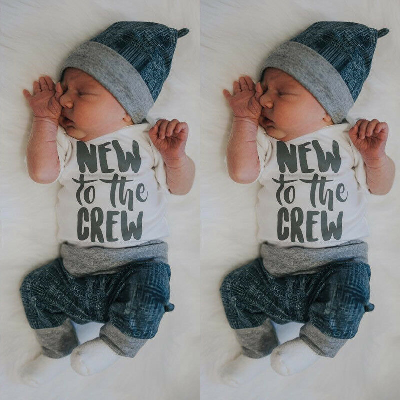 Newborn Kid Baby Boy Girl 3pcs Clothes Jumpsuit Romper Long Pants Hat Outfit Set in Clothing Sets from Mother Kids