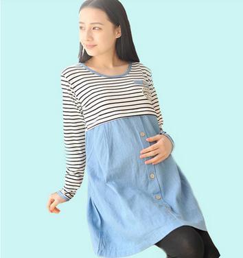 Spring and autumn Nursing dress Korean fashion breastfeeding clothes striped long sleeved pregnancy dress SH-12073JYF