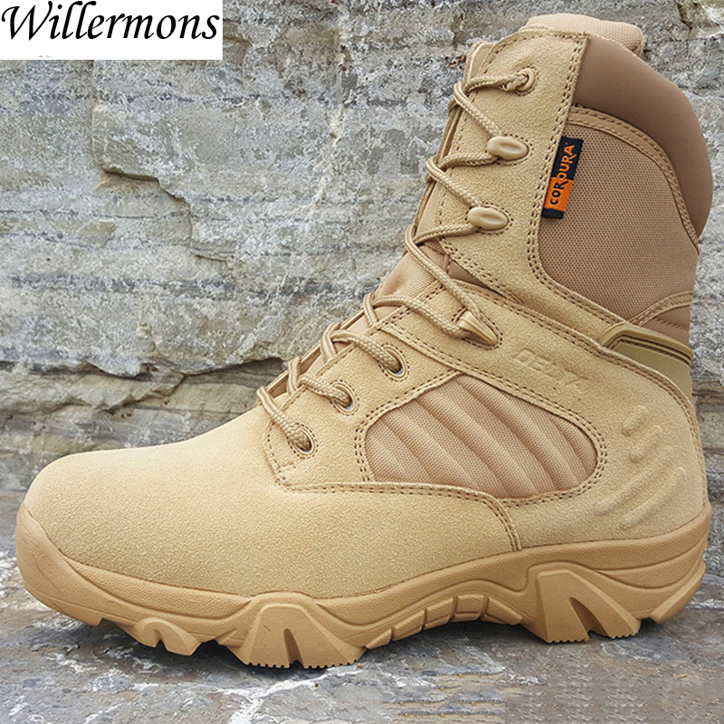 Military Men's Outdoor Cow Suede Leather Tactical Hiking Shoes Boots Men Army Camping Sports Shoes yin qi shi man winter outdoor shoes hiking camping trip high top hiking boots cow leather durable female plush warm outdoor boot