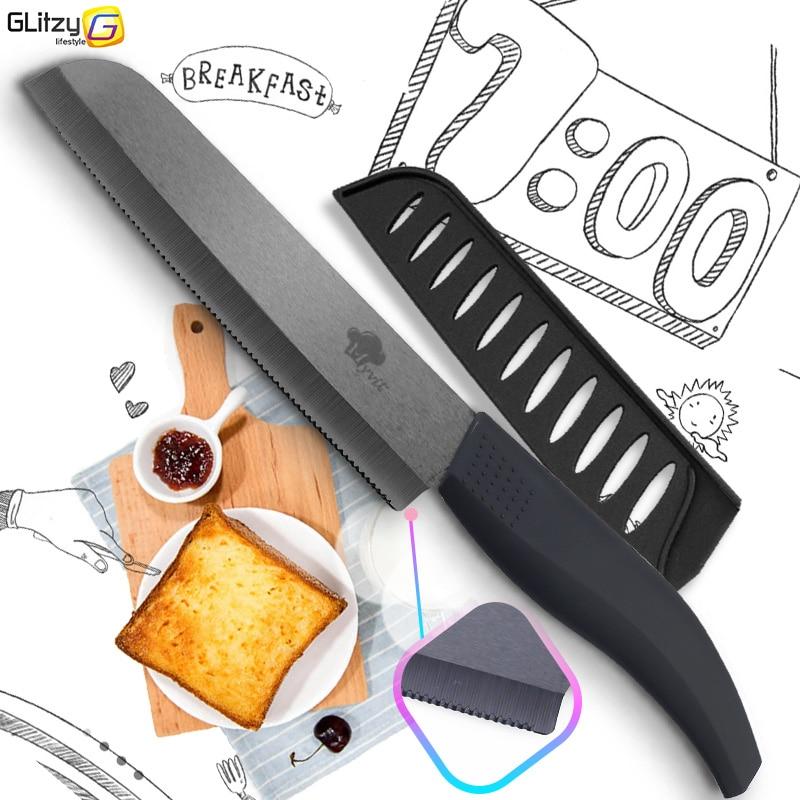 """Kerámia kés Fogazott kenyér Konyha cirkónium fekete penge kés 6 """"hüvelykes 4 színes fogantyú gyümölcs védőfedéllel"""