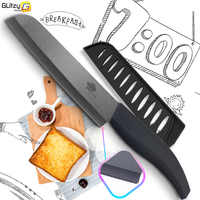 "Cuchillo de cerámica serrado pan cocina Zirconia cuchillo negro cocina 6 ""pulgadas 4 mango colorido fruta con cubierta de protección"