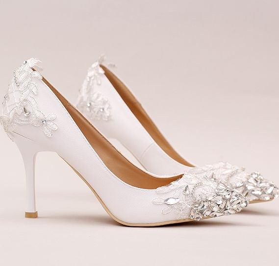 ФОТО White lace pumps shoes for woman crystal stiletto thin high heel point toes female ladies wedding shoes dinner party pumps TG694