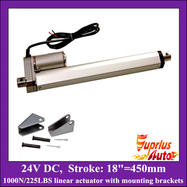 DC 24v linear actuator with mounting brackets, 18inch/ 450mm stroke with 1000N/ 225lbs load electric linear actuators