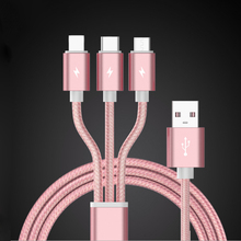 3 in 1 nylon braided charging cable Micro USB for Type C Charger Cable for iPh Cord Fast Charging Cables for Android device 1M цена 2017