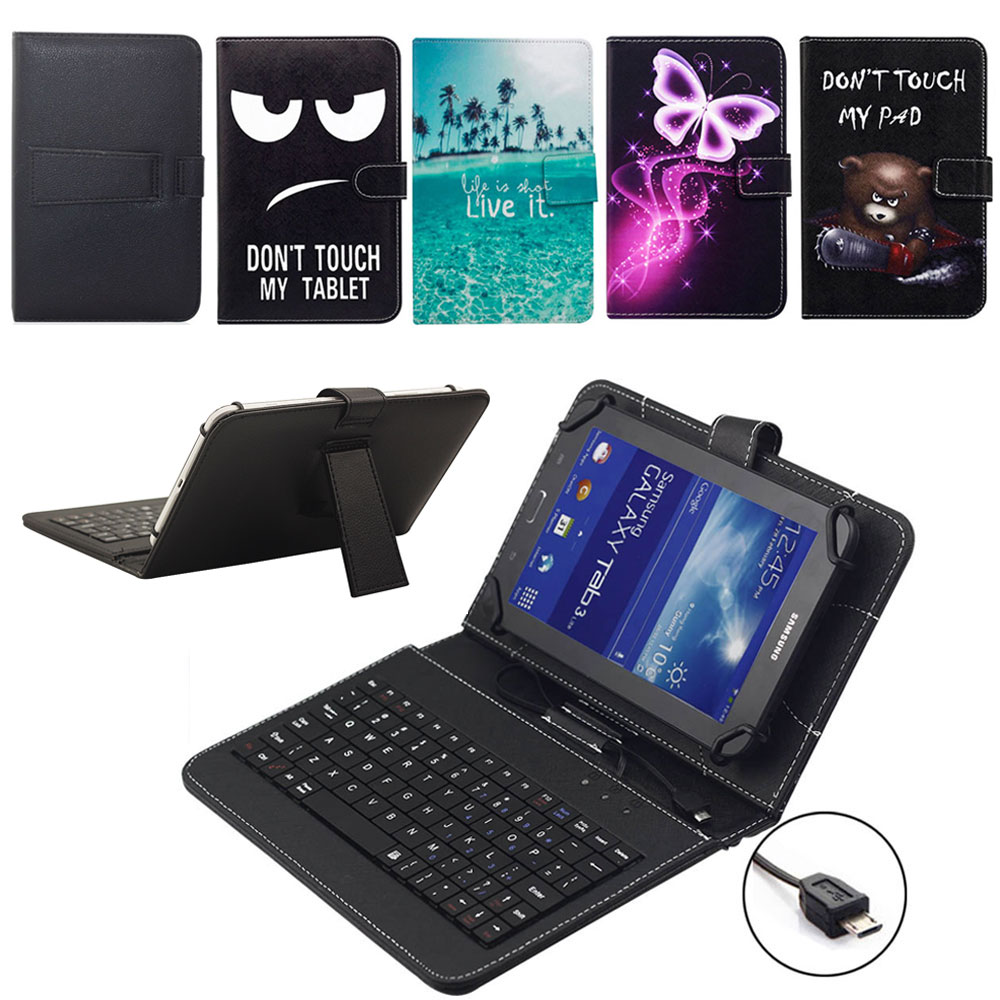 For Lenovo Tab 7-8 inch Tablet Case with <font><b>Micro</b></font> <font><b>USB</b></font> Keyboard for Tab <font><b>2</b></font> 3 4 TB3-730F/M TB-8504F/N Xiaoxin Small New Leather Cover image