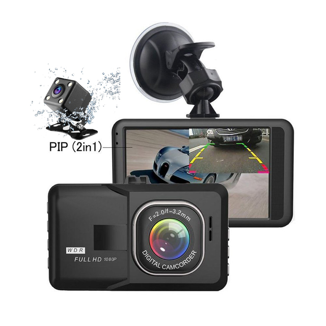 2018 Auto Dual Lens 3 Inch Dash Cam Car DVR 1080P Video Recorder Registrator with Backup Rearview Camera Cam Corder Display 1