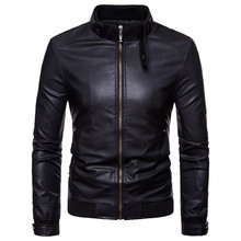 PU jacket motorcycle leather mens spring and autumn imitation stand collar clothing casual