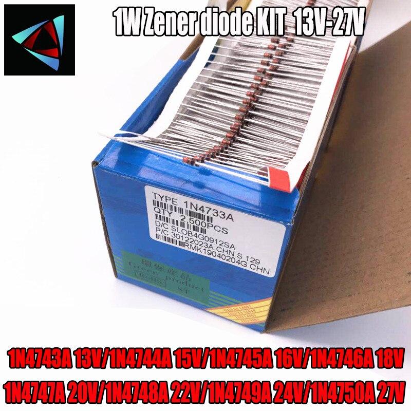 50 pces 1 w diodo zener do-41 13 13 v/1n4744a 15 v/16 16 v/18 18 v/1n4747a 20 v/1n4748a 22 v/1n4749a 24 v/1n4750a 27 v