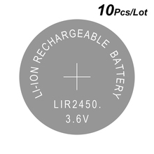 Lithium Button Cell Li ion Rechargeable Battery LIR2450 3.6V 10 PCS   2450 Replaces CR2450