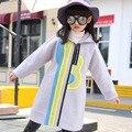 2016 Otoño Invierno de Las Muchachas Embroman la Capa Encapuchada Sport Chaqueta Larga Femenina niños Impreso Chaquetas de Cremallera de Moda de Corea