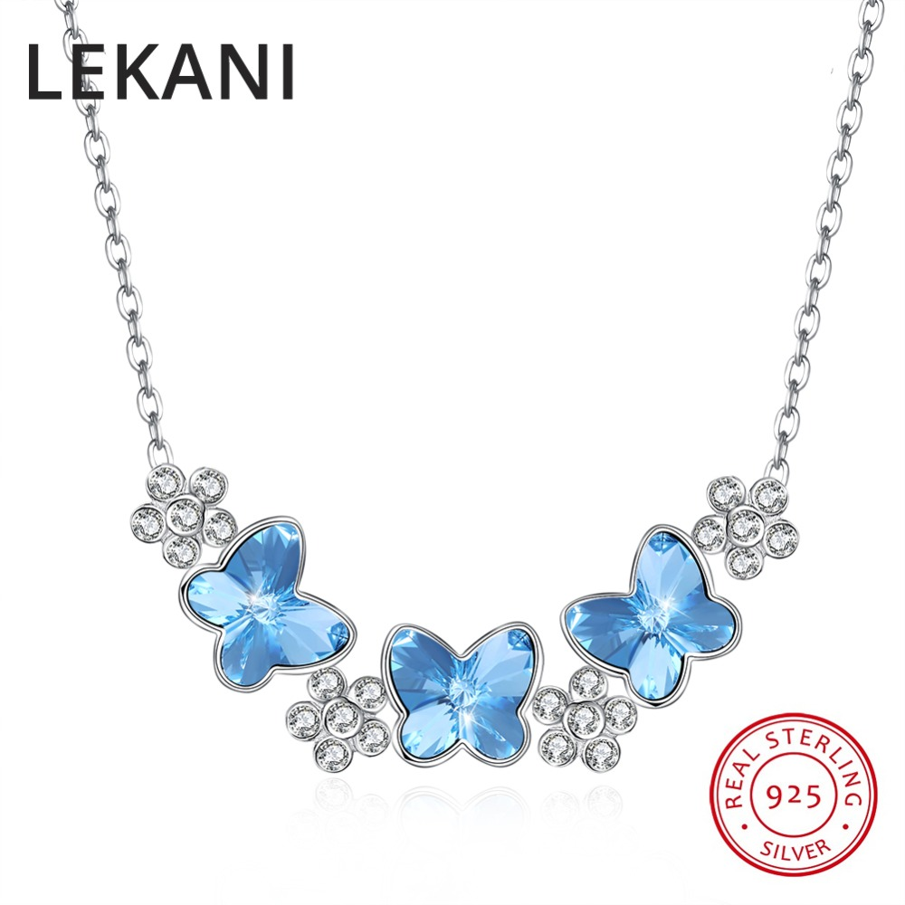 LEKANI Crystals From SWAROVSKI Butterfly Flowers Necklaces Pendant Real S925 Silver Choker For Women Luxury Fine Jewelry GiftsLEKANI Crystals From SWAROVSKI Butterfly Flowers Necklaces Pendant Real S925 Silver Choker For Women Luxury Fine Jewelry Gifts