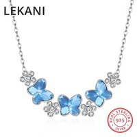 LEKANI Crystals From SWAROVSKI Butterfly Flowers Necklaces Pendant Real S925 Silver Choker For Women Luxury Fine Jewelry Gifts