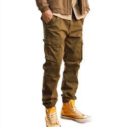 MORUANCLE Для мужчин хип-хоп штаны-карго с большими карманами Модные прочные брюки Джоггеры для человека эластичные манжеты 100% хлопок