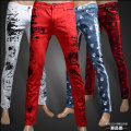 New male pants trousers red printing  slim white jeans men tide leisure personality skull flower pants for singer dancer star