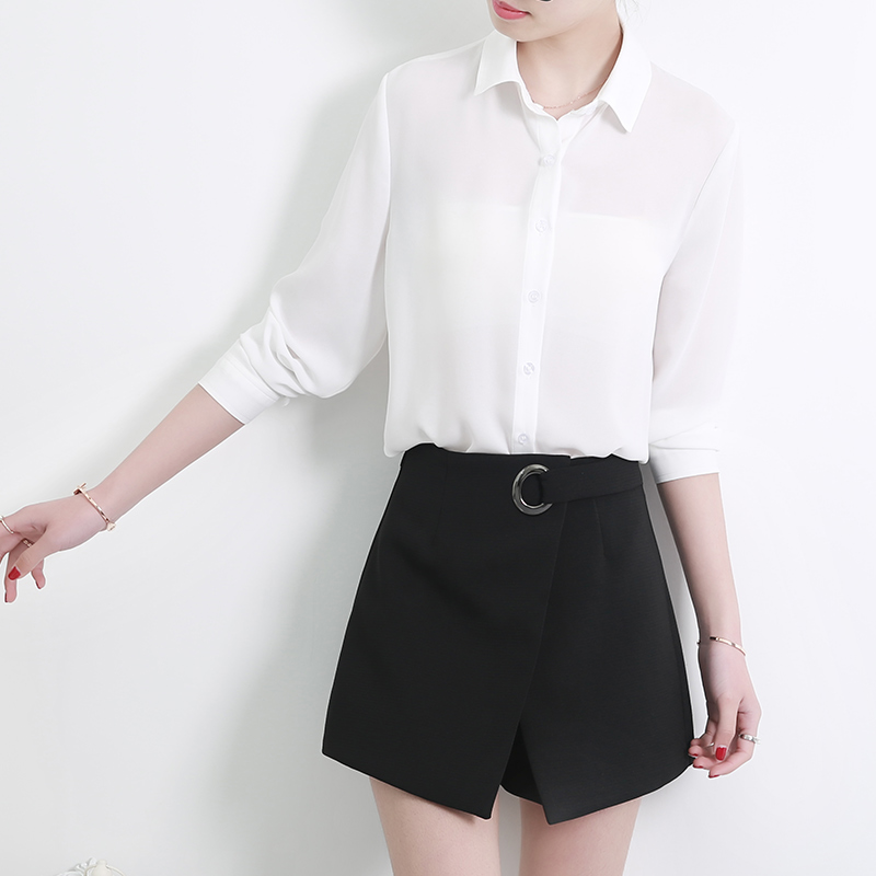 Women's Classic Shirt Chiffon Blouse Loose Long Sleeve Casual Shirts Lady Simple Style Tops 10