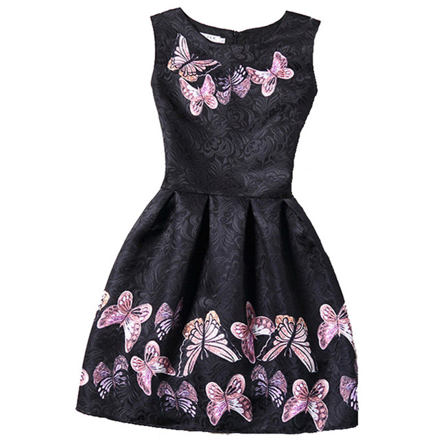 Women Dress Print Butterfly Floral Vintage Sleeveless 2017 New Style Summer Retro Black Dress Party Vestidos De Verano Ball Gown