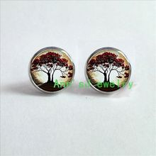 HZ4-00571 Weeping Willow eardrops Tree stud earrings Tree Jewelry Photo Pendant, Altered Art Pendant, Glass Dome Pendant