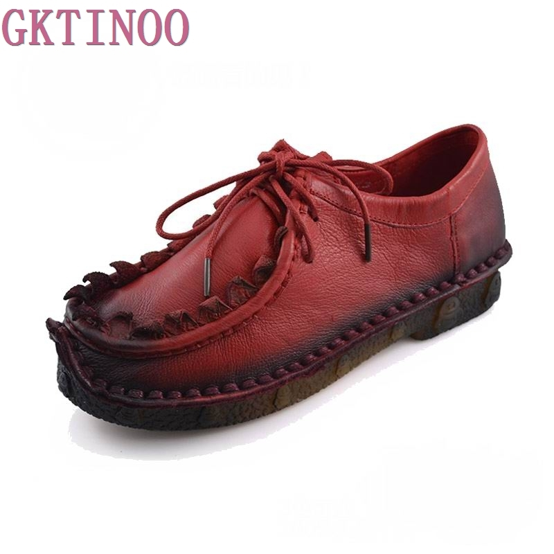 Spring Autumn Handmade vintage women's shoes genuine leather female moccasins loafers soft cow muscle outsole casual shoes flats genuine cow leather spring shoes wedges soft outsole womens casual platform shoes high heel round toe handmade shoes for women