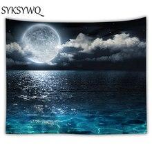 Океан гобелен с Луной природы общежития Декор настенный дом Прямая ткань настенный гобелен из ткани