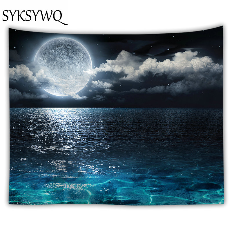 Ocean Moon Tapestry Nature Dorm Decor Wall Hanging Farmhouse Drop Shipping  Fabric Wall Cloth Tapestries