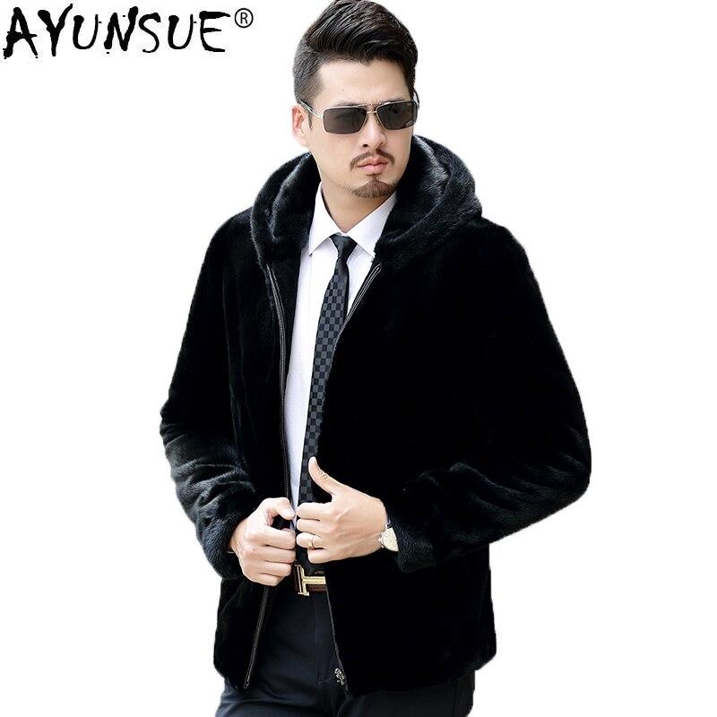 AYUNSUE hommes vison manteau veste d'hiver velours fourrure naturelle hommes réel fourrure manteau de luxe veste grande taille veste pour hommes QTAN061F KJ837