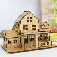 Creativo DIY modelo de casa de madera para ser montados adornos decoración de madera muebles de madera accesorios de tiro