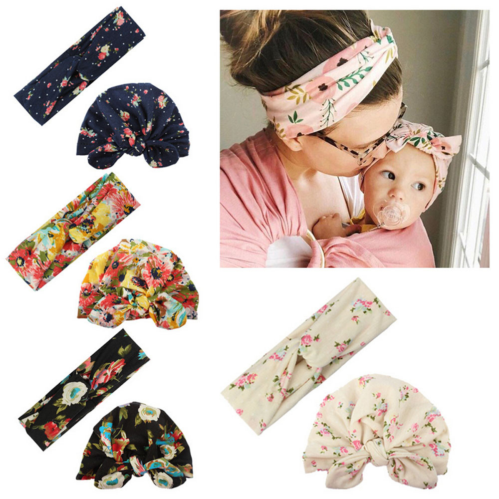 2Pcs New Mom And Baby Floral Printed Cross Headband Sets Toddler Baby Girl Rabbit Ear Hat Cute Headband Turban Cotton Beanie Cap